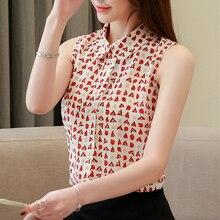 Korean Fashion Chiffon Women Blouses Summer Sleeveless Shirts Plus Size Womens Tops and