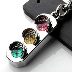 Необычные 3D серебристый светофор подвеска брелок с кольцом для ключей брелок креативный подарок