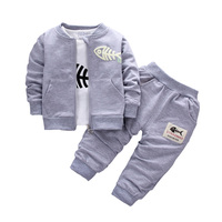 2017 Baby Children Clothing Sets Boys Cotton Coat Shirt Trousers 3pcs Fish Bone Suits Autumn And