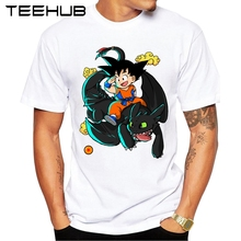 2017 Summer Hot DragonBall Men T-shirt New Fashion Goku with Toothless Printed T shirt Funny Tops Short Sleeve Basic Tee Shirts