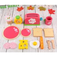 Wooden Bread Machine Toy Set Simulation Breakfast Toy Combination With Cute Dishes And Spoons Tea Set Milk And Fruits Model