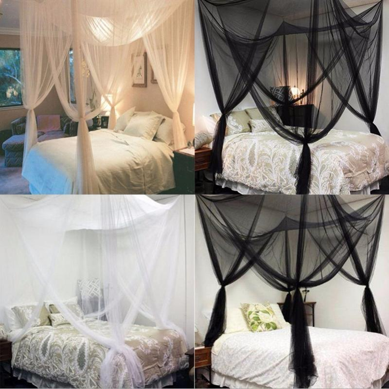 Mosquito In Bedroom: Large Double Bed Gauze Sheer Mosquito Curtain Four Door