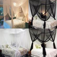 Large Double Bed Gauze Sheer Mosquito Curtain Four Door Home Bedroom Decoration Mosquito Nets Romantic Hanging Bed Valance(China)
