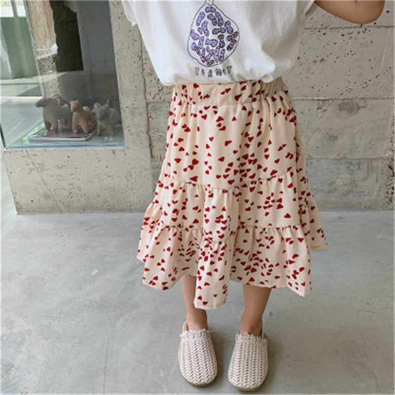 2019 nueva llegada de verano de estilo coreano de algodón con patrón de punto y corazón estampado princesa falda todo-fósforo para lindas niñas dulces