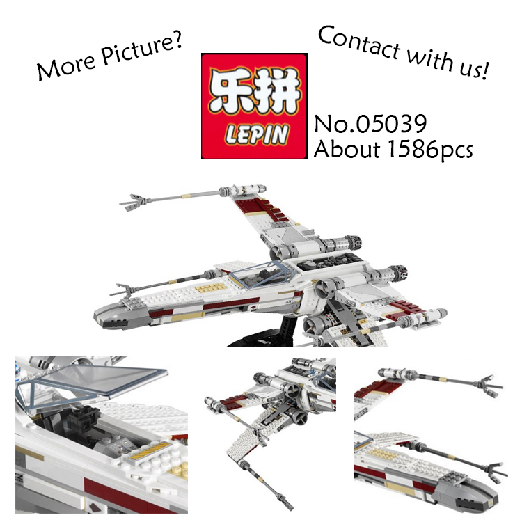 1586PCS Lepin 05039 Red Five X-wing Starfighter STAR WARS Ultimate Collector Starwars Building Bricks Blocks Toys 10240 lepin 05039 star wars red five x wing starfighter figure blocks construction building bricks toys for children compatible legoe