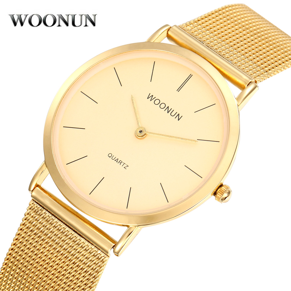 WOONUN Men's Watch Mesh-Band Stainless-Steel Top-Brand Luxury Gold Quartz Thin Relogio Masculino