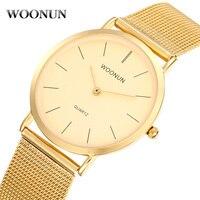 WOONUN Men's Watch Top Brand Luxury Gold Watches Men Stainless Steel Mesh Band Quartz Watch Thin Mens Watches relogio masculino