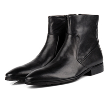 Quality fashion black boots mens ankle boots genuine leather winter shoes mens motorcycle boots