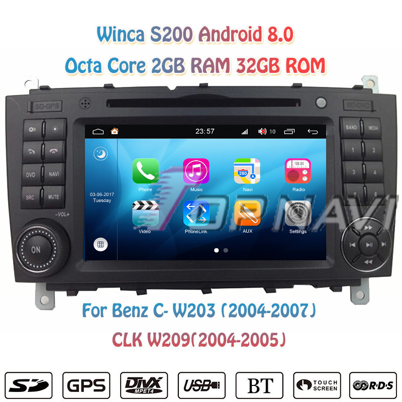 Topnavi 7'' Octa Core S200 Android 8.0 Car DVD Multimedia Player for W203 2004 2005 2006 2007 Audio Radio Stereo 2DIN GPS Navi