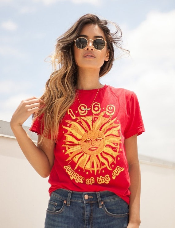 be8ee9e43a5f HAHAYULE 1969 Summer Of The Sun Graphic T-Shirt Women 70s Vintage Fashion  Tee Casual