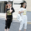 2016 summer new girls clothing set cute black letters cotton t-shirt+ casual capri pants 2pcs set kids clothes for big girls