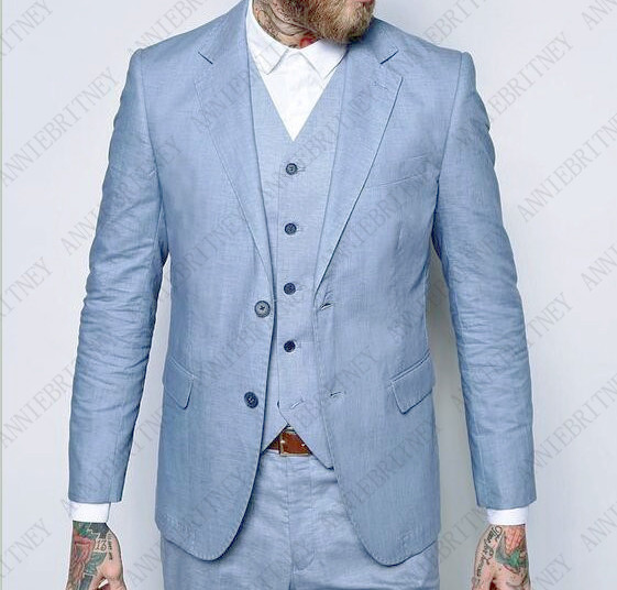 ANNIEBRITNEY Light Blue Linen Men Suit Classic Summer Jacket Men Wedding Suits Smart Casual Beach Prom Blazer Slim Jacket Pants