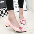 NEW Fashion women ladies shoes mid heel wedding party shoes slipony women bowtie office woman's footwear Point Toe Ankle Shoes
