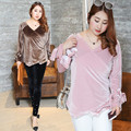 Velvet T Shirt Women Big Size 4xl Blusa V Neck Long Sleeve Tops 2017 New Coffee Pink Yellow Tshirt Womens Clothing 0473-1713