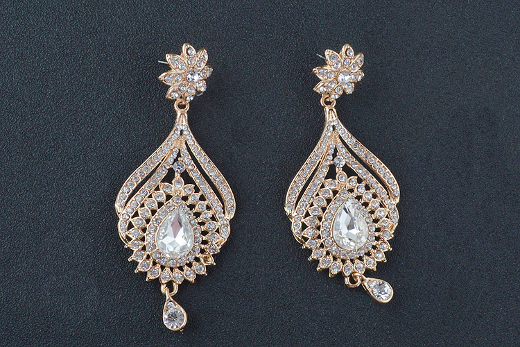 Statement India style Necklace earrings sets Bridal wedding Party Necklace Water Drop Type Golden Plated Crystal Jewelry Sets 19