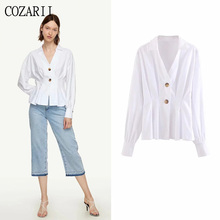 COZARII blusas mujer de moda 2019 summer women casual style solid V-Neck full sleeve kimono blouse womens tops and blouses