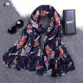 2016 new style fashion hot sale voile woman scarf long square sun protection shawl ladies women wrap peony print free shipping