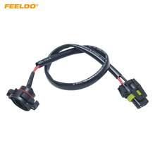 FEELDO 10Pcs Car Headlight Cable H4 Male To Female Connector Plug Lamp Bulb Socket Automotive Wiring Adapter Holder #FD6001(China)