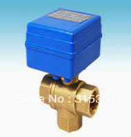 Free Shipping CWX-20 Brass 1/2'' Mini Electric Ball Valve 3 Way 12V Water Treatment Control type CR01 or CR02 free shipping cwx 20 brass mini electric 3 way ball valve g1 2 water treatment havc 5v control type cr01 or cr02