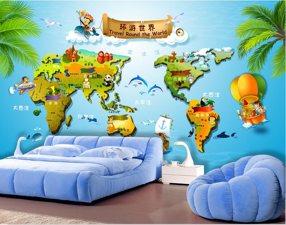 Custom photo 3d wallpaper Non-woven mural Children room around earth decoration painting 3d wall murals wallpaper for walls 3 d 3d photo wallpaper custom mural room non woven green forest sun landscape painting picture 3d wall murals wallpaper for walls 3d