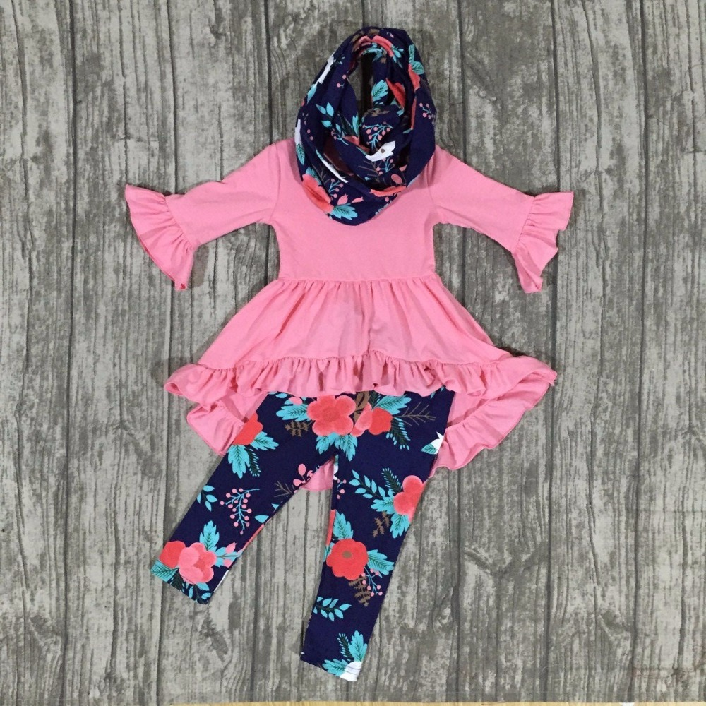 baby girls Fall/winter girls 3 pieces sets scarf boutique clothing children coral cotton dress top with floral pants outfits