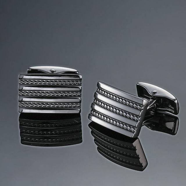 Copper quality enamel square stripes gold silver black flower cufflinks Top brand 1