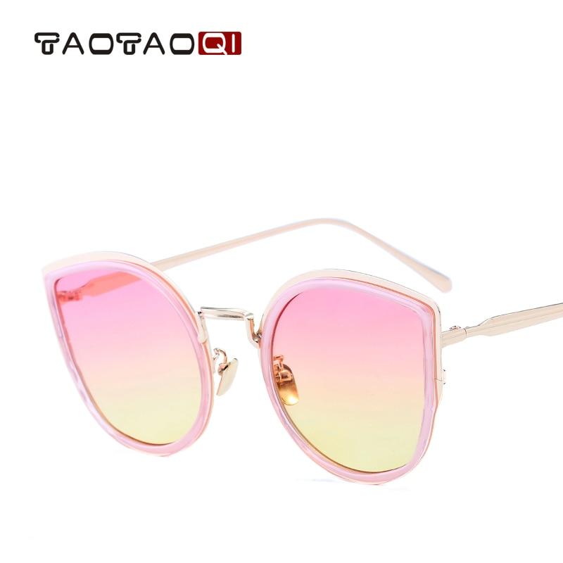 TAOTAOQI Brand Trend Metal Frame Sunglasses Women Designer Fashionable Cat Eye Sunglasses UV400 Personality Vintage glasses