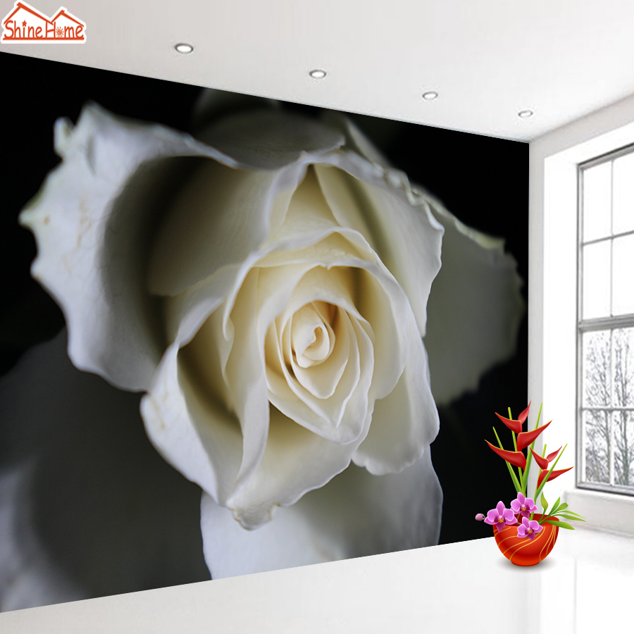 ShineHome-Black White 3d Photo Wallpaper Wallpapers For Living Room Non Woven Wall Papers Home Decor Mural Rolls Natural Rose TV