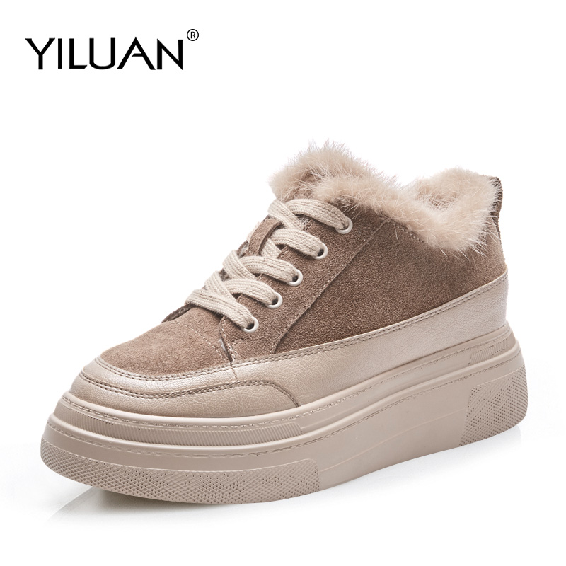 Yiluan automne hiver baskets en cuir véritable femmes chaussures de couleur sable mode chaussures à lacets plate-forme pour les femmes en peluche courte