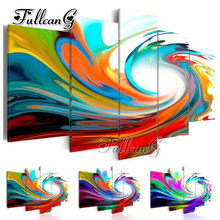 FULLCANG diy 5 pieces diamond painting color abstract landscape full square/round drill 5d cross stitch embroidery kits FC097