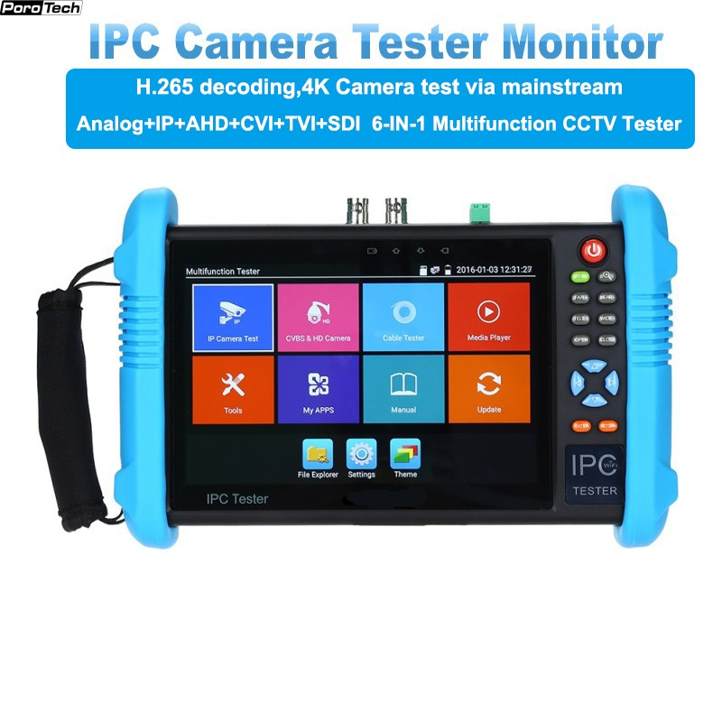IP Camera Tester 9800 Plus 7inch H.265 4K 8MP TVI CVI AHD SDI CVBS IPC CCTV Monitor With Cable Tracer/TDR/Multimeter HDMI In/out