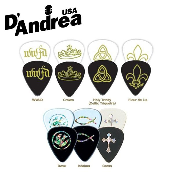 D Andrea Cp23 Guitar Pick Plectrum Mediator Cross Ichthus Dove Fleur De Lis In Parts Accessories From Sports Entertainment On