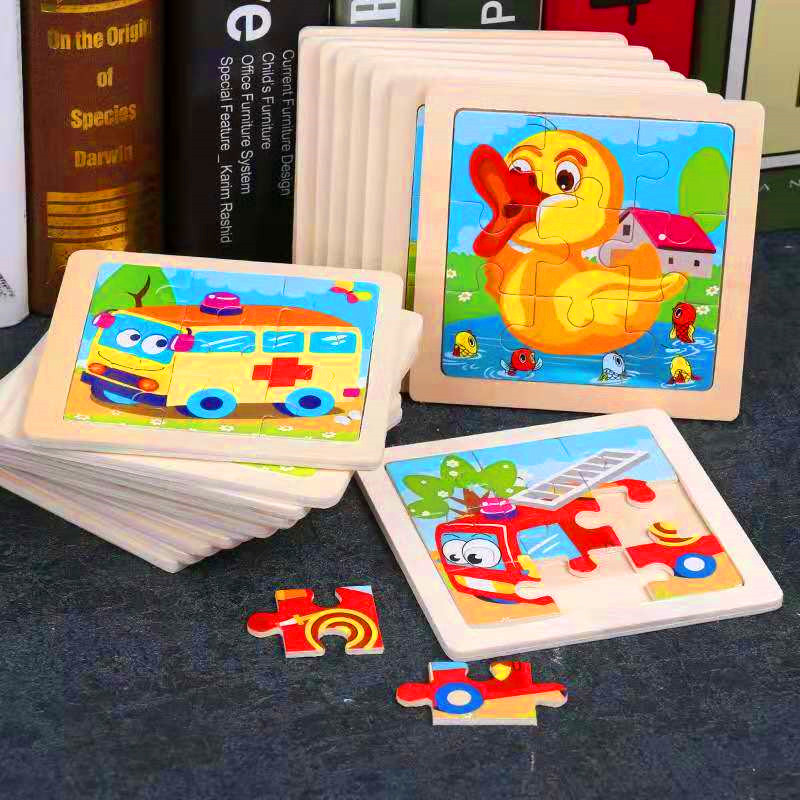 Mini Size 11*11CM Kids Toy Wood Puzzle Wooden 3D Puzzle Jigsaw for Children Baby Cartoon Animal/Traffic Puzzles Educational Toy(China)