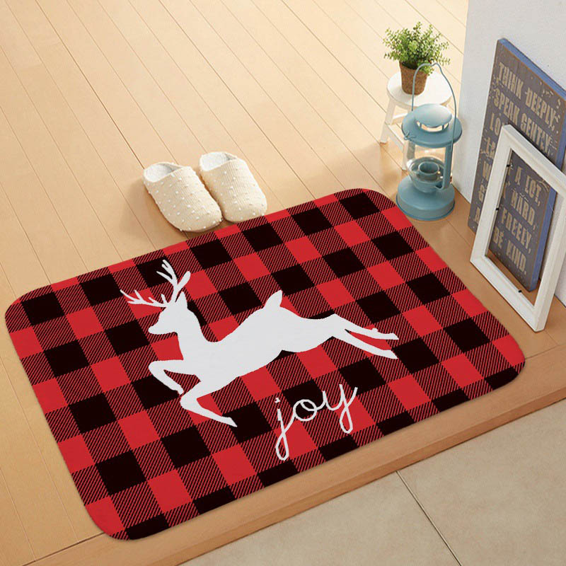 Fashion Popular Buffalo Check Welcome Door <font><b>Mat</b></font> <font><b>Deer</b></font> Cat Squirrel Living Room Decorative Blanket Non-Slip Kitchen <font><b>Bathroom</b></font> <font><b>Mat</b></font> image