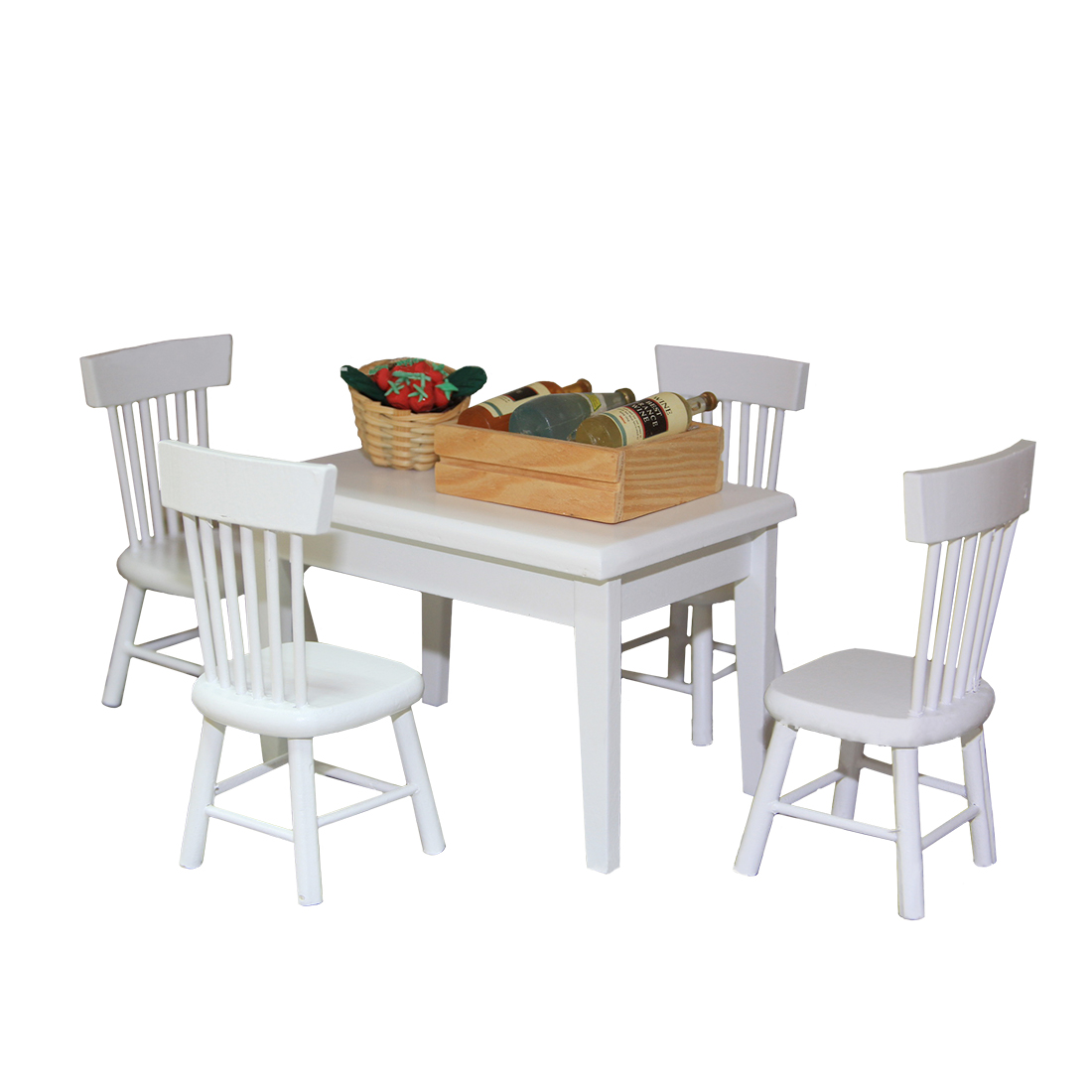 1:12 Birch Children DIY Play & Pretend Toys Dining Table and Chair Set for Kid Playing Kitchen Kits