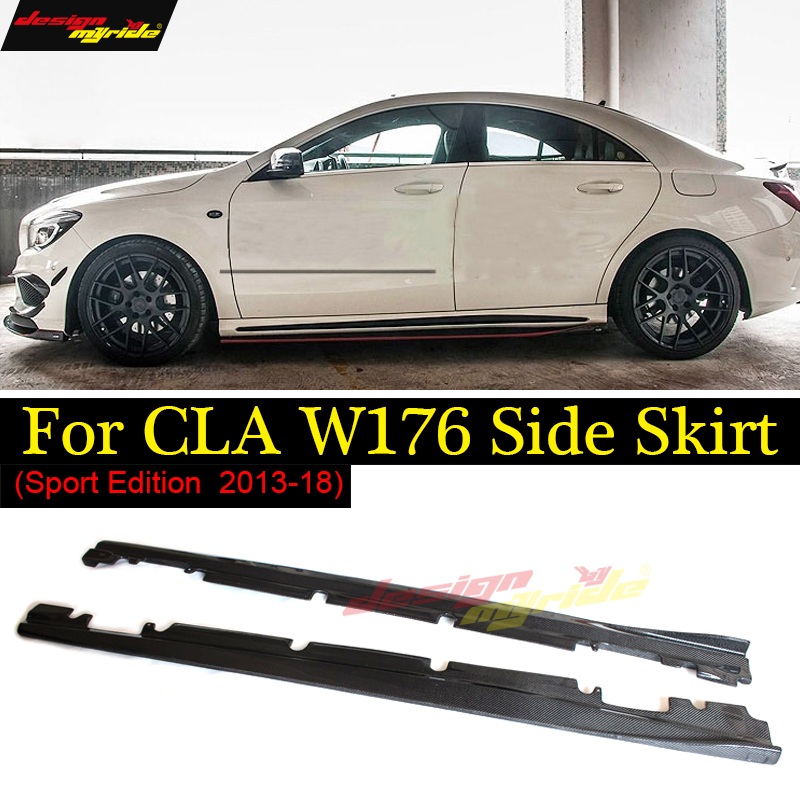 CLA W117 Side Skirts Carbon Fiber For CLA-Class W117 CLA180 CLA200 CLA250 CLA45 AMG Sport EStytle dition With AMG pacakge 13-18