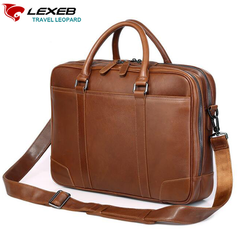 LEXEB Brand Brown Full Grain Leather Briefcase Best Quality Men Double Zippers Open Handbags For 15 Inch Laptop Two Main Bags