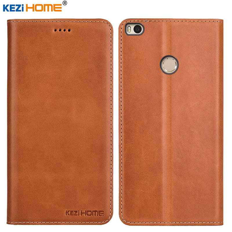 Case for Xiaomi Mi Max 2 KEZiHOME Top-Quality Genuine Leather Flip Stand Leather Cover for Xiaomi mi Max2 6.44'' Phone cases
