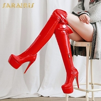 SARAIRIS Brand new Plus Size 33 48 Hot Sale Sexy Thin High Heels Boots Woman Shoes Zip Up Platform Over The Knee Boots