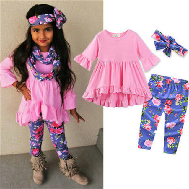 9a48f37e6355f Newbaby 3pcs Toddler Girls Outfits Headband+Tops+Floral Pants Kids Clothes  Set Autumn Lolita Suit Age 0-3Y