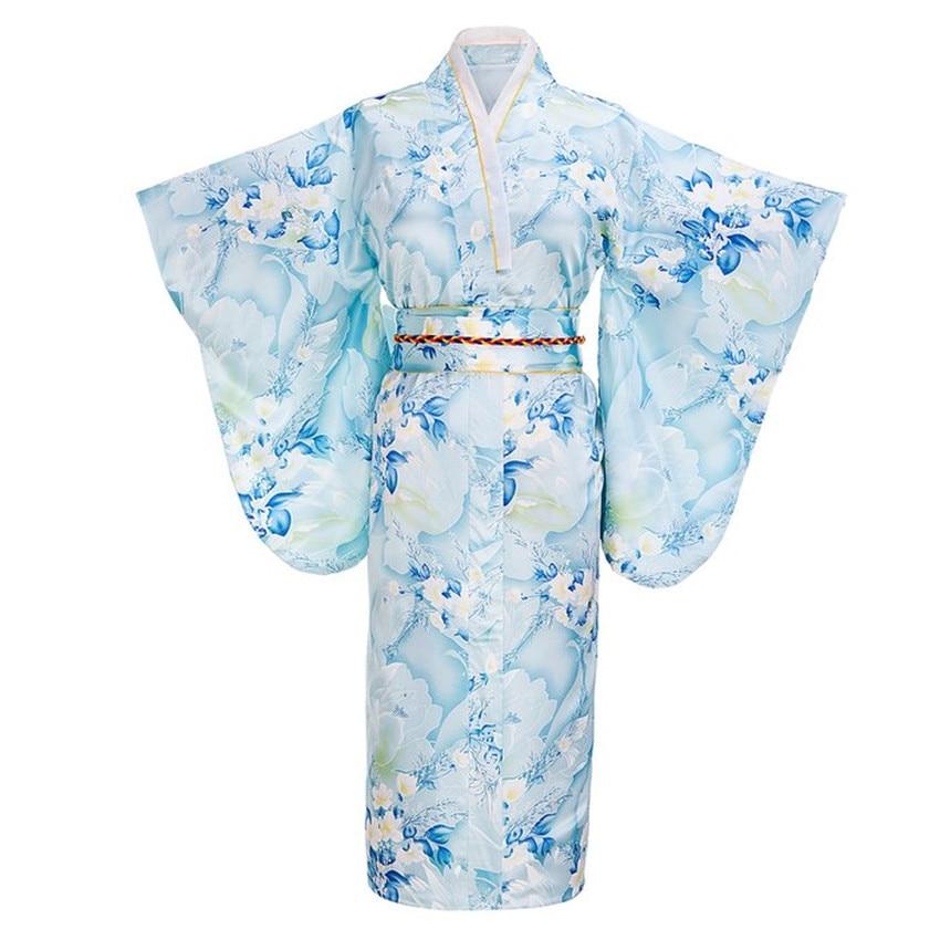 Light Blue Fashion Japanese Women Tradition Yukata Silk Rayon Kimono With Obi Flower Vintage Cosplay Costume One Size