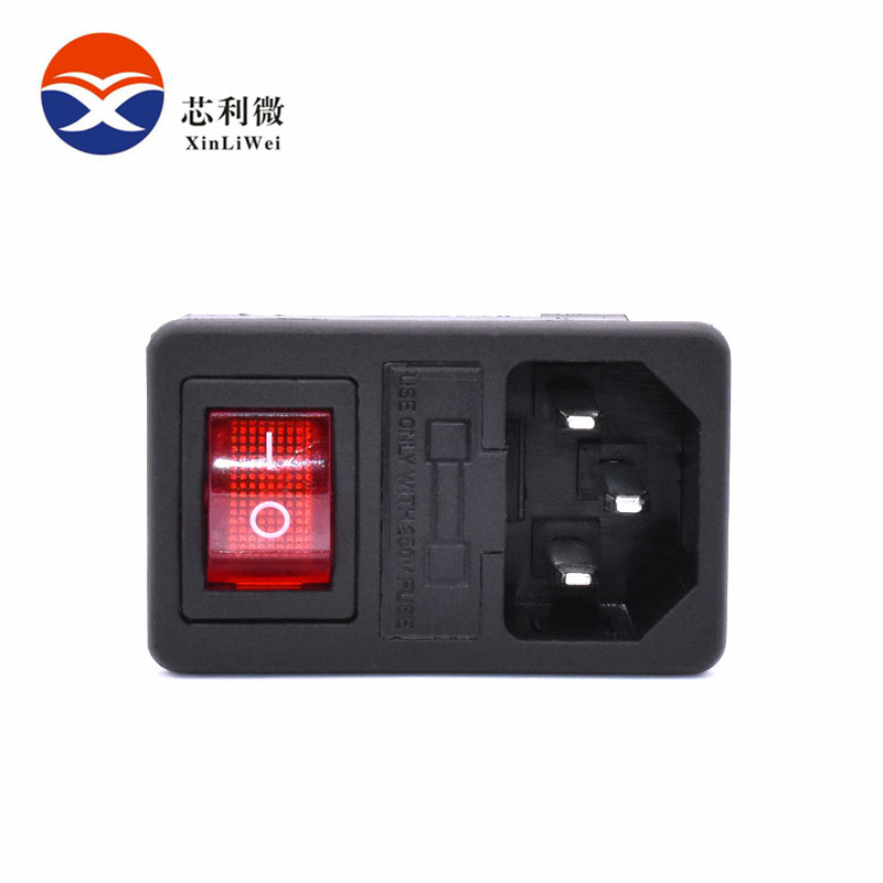 Brass Parts Red Rocker Switch Fused IEC 320 C14 Inlet Power Socket Fuse Switch Connector Plug 10A 250V Connector