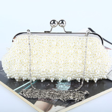 2016 New Fashion Pearl Evening Bag Handmade Beaded Evening Bag Luxury Crystal Evening Bag Shinny Crystals Ladies Party Handbag