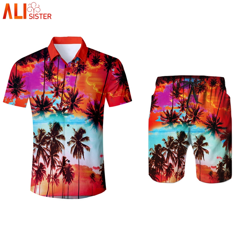 Alisister Coconut Trees Print Tracksuit Mens Shirts And Shorts Summer 2 Pieces Set 3d Trousers Tuxedo Shirt Moletom Masculino