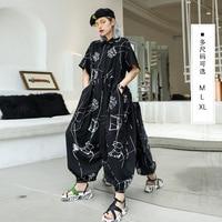 Cool Loose Jumpsuit for Women High Quality Cotton Linen Rompers Womens Jumpsuit Summer Short Sleeve Janpan Korean Harem Pants