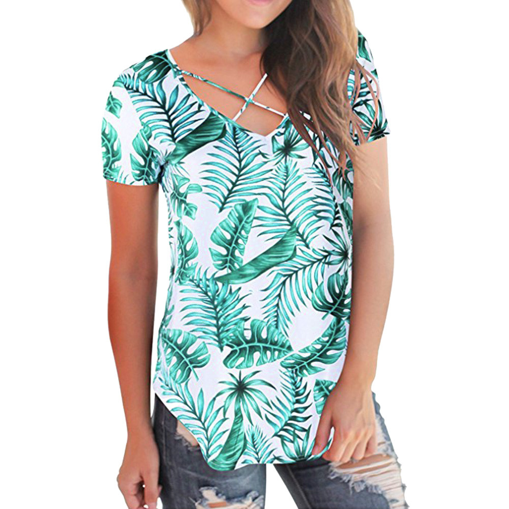 2018 Women Blouses Summer Shirts Fashion Tops Casual Short Sleeved Solid Criss Cross Floral Front V-Neck Tops Tees