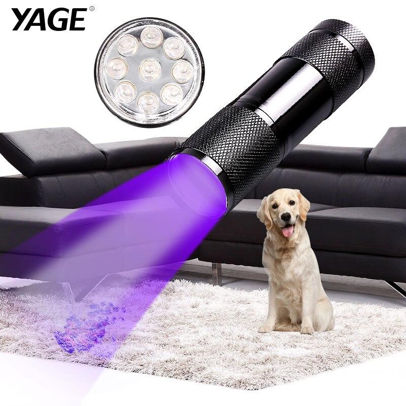 YAGE YG-340C Flashlight Mini UV LED uf Violet Light 9 Torch Lamp for AAA Battery Ultraviolet flashlight