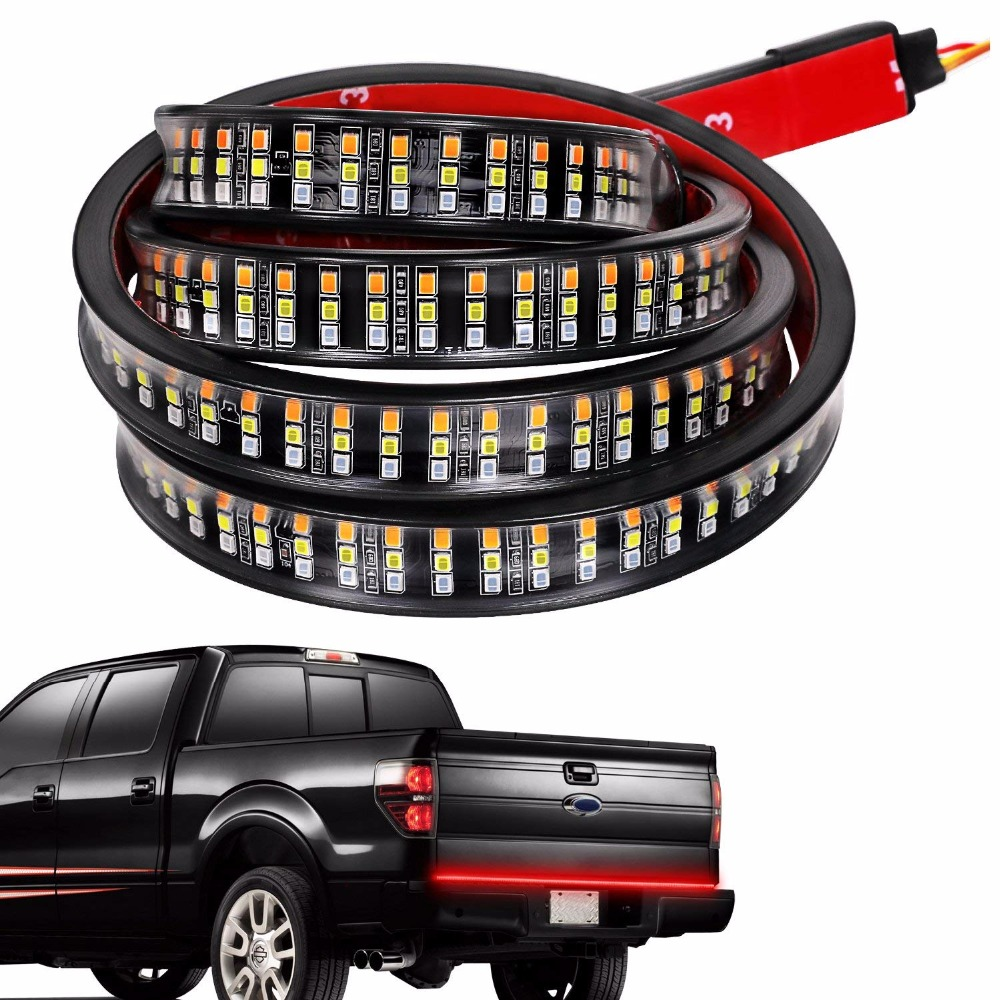 60 triple 3 row led tailgate light bar with amber turn signal red 60 triple 3 row led tailgate light bar with amber turn signal red brakerunning aloadofball Images