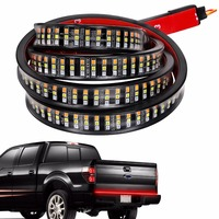 60 Triple 3 Row LED Tailgate Light Bar with Amber Turn Signal, Red Brake/Running, White Reverse Lights