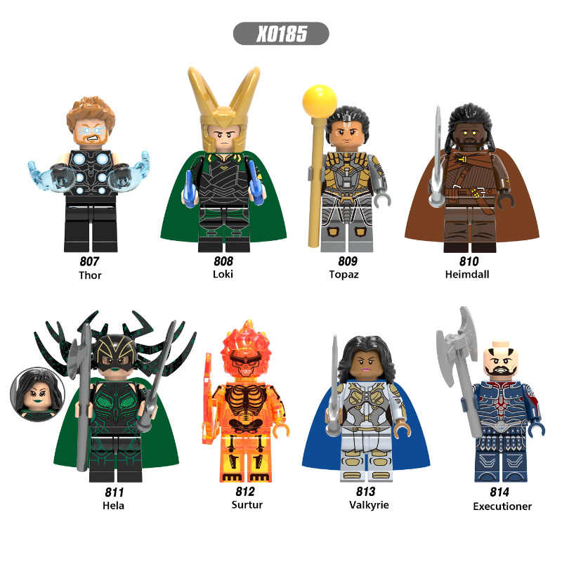 Super Hero X0185 Thor Legoingly Figure Loki Topaz Heimdall Hela Surtur Valkyrie Executioner Set Model Building Blocks kits Toys
